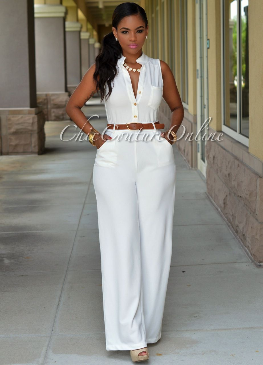 Crystal Off-White Belted Jumpsuit | Fashion/Clothing | Pinterest ...