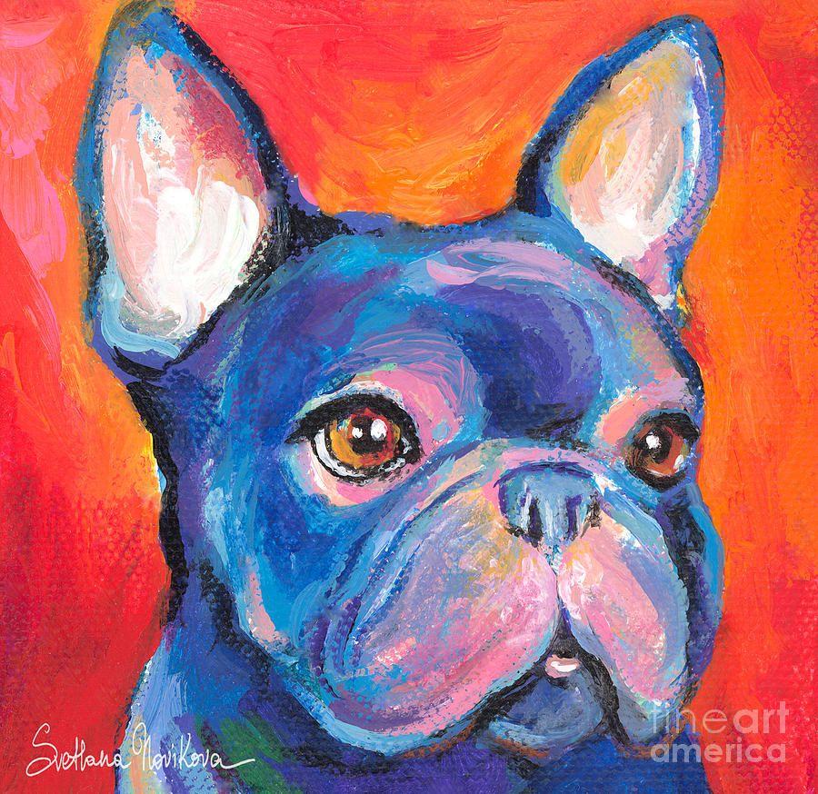 Cute French Bulldog Painting Prints Painting by Svetlana