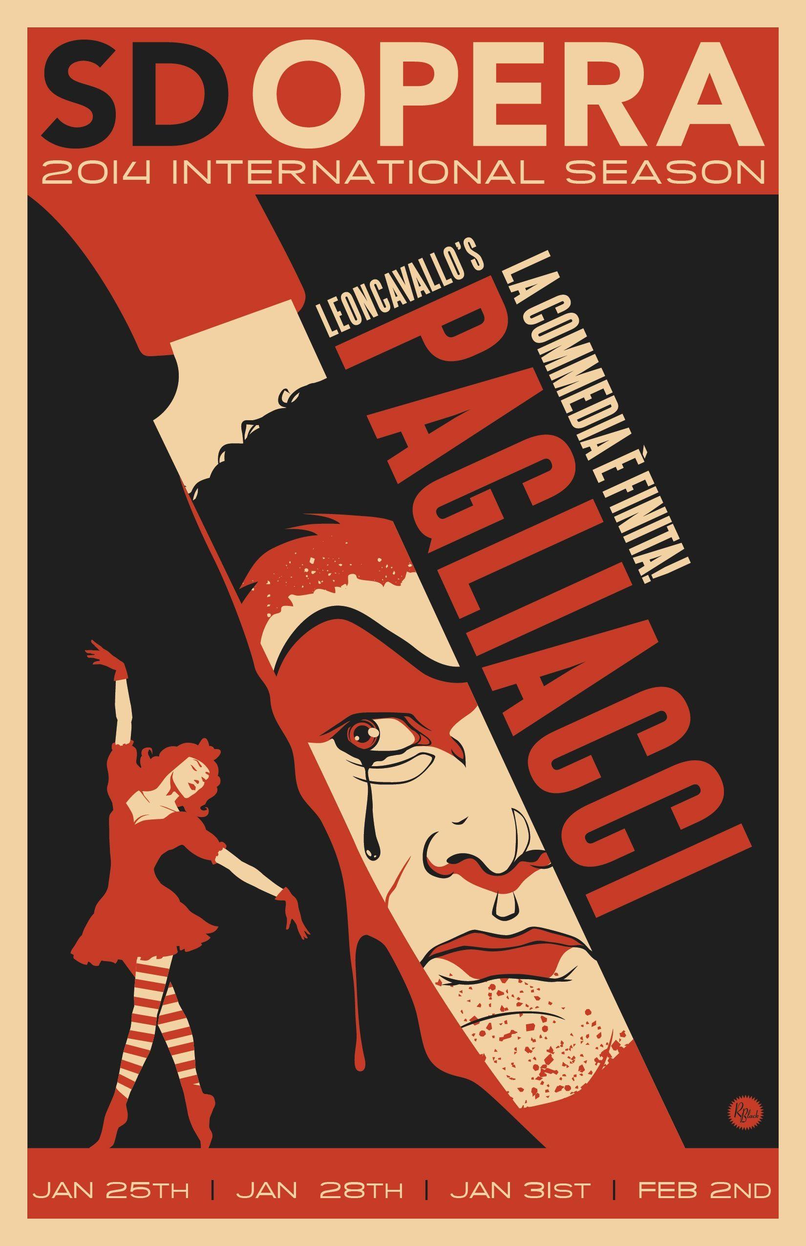 Leoncavallo's Pagliacci poster from the San Diego Opera