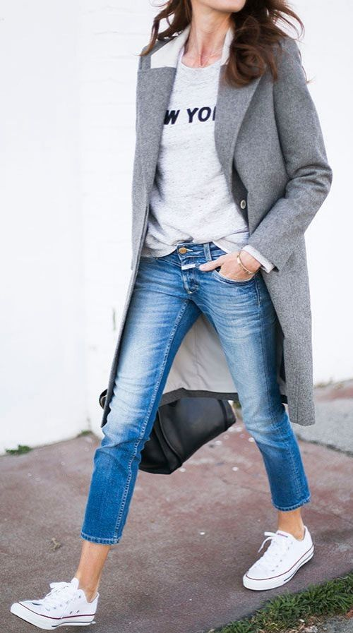 Instantly look more polished with a long gray wool coat.