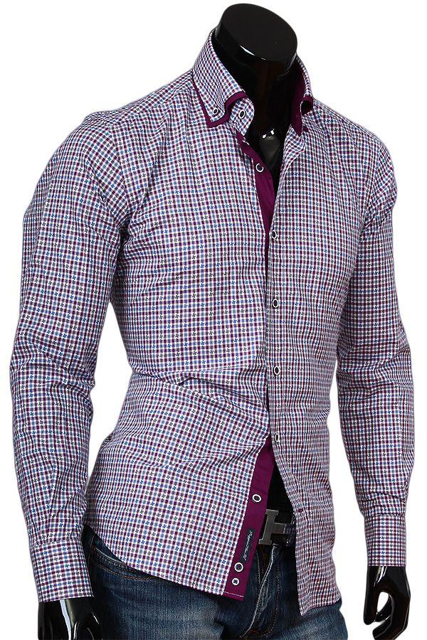 95481f8d036 Купить Стильная мужская сорочка с двойным комбинированным воротником фото  недорого в Москве