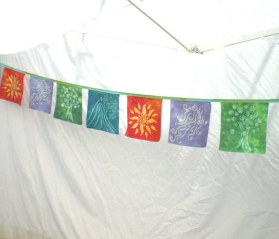 The Four Elements Cotton Prayer Flags Banner by DesertDyeworks, $45.00