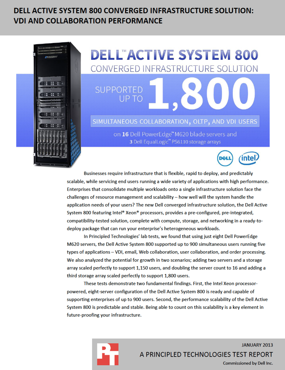 Dell Active System 800 Converged Infrastructure Solution Vdi And Collaboration Performance Http Facts Pt 10vwkdw Solutions System Infrastructure
