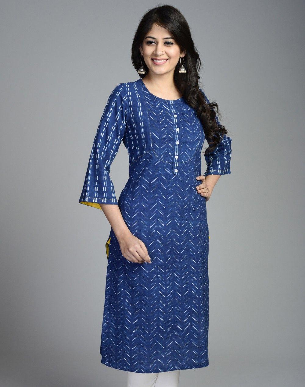 Cotton Printed Bell Sleeves Long Kurta | Salwar patterns ...