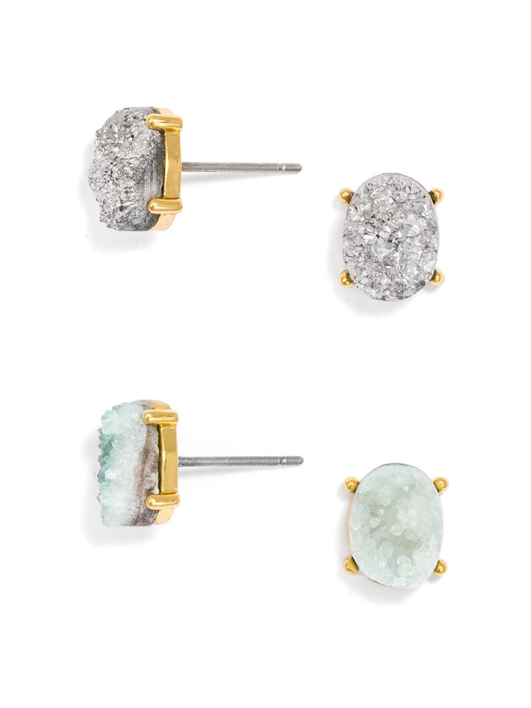 Meteorite Druzy Stud Set Earring Baublebar