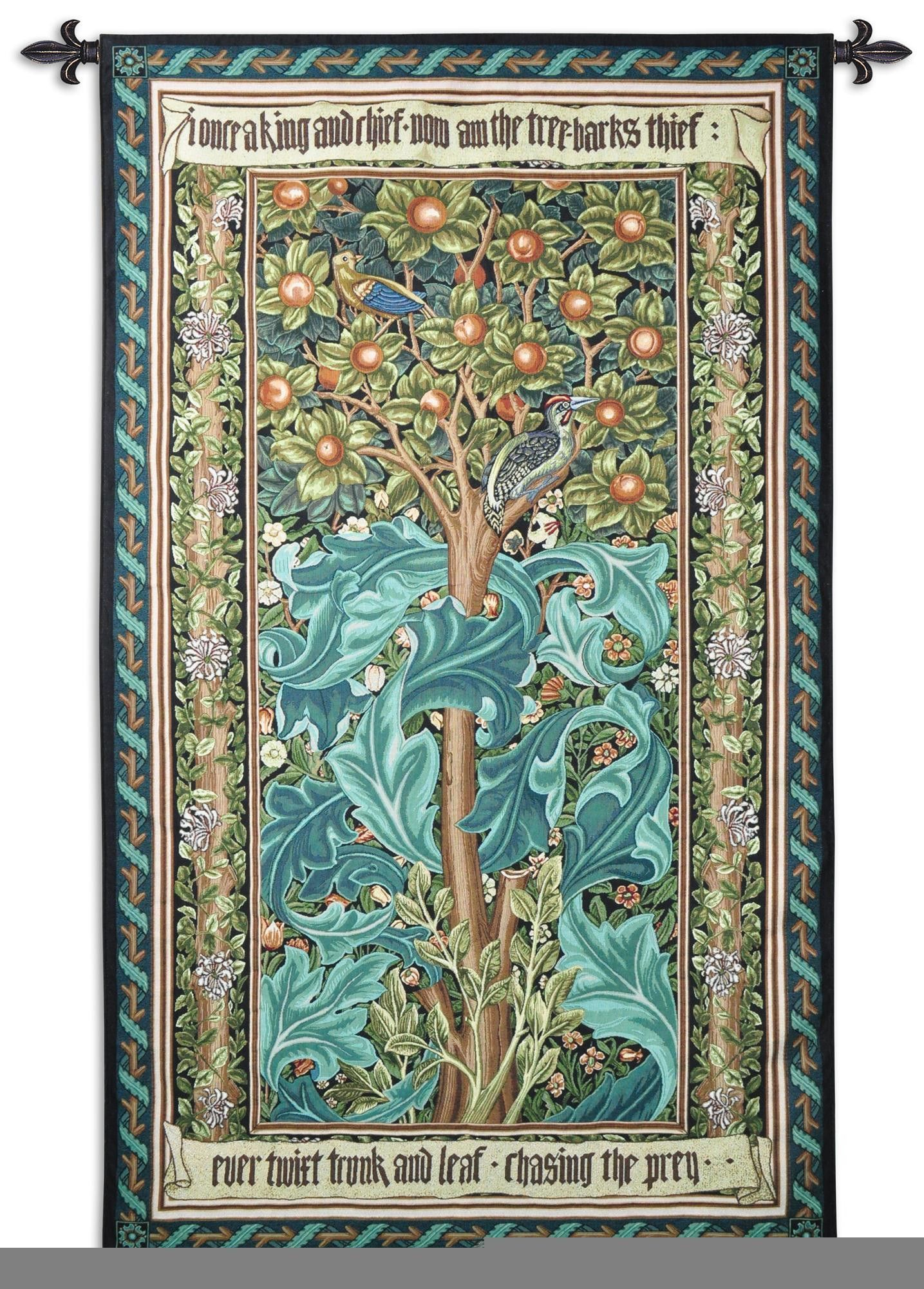 Woodpecker William Morris Green Wall Tapestry Fine Art Tapestries William Morris Art William Morris Designs