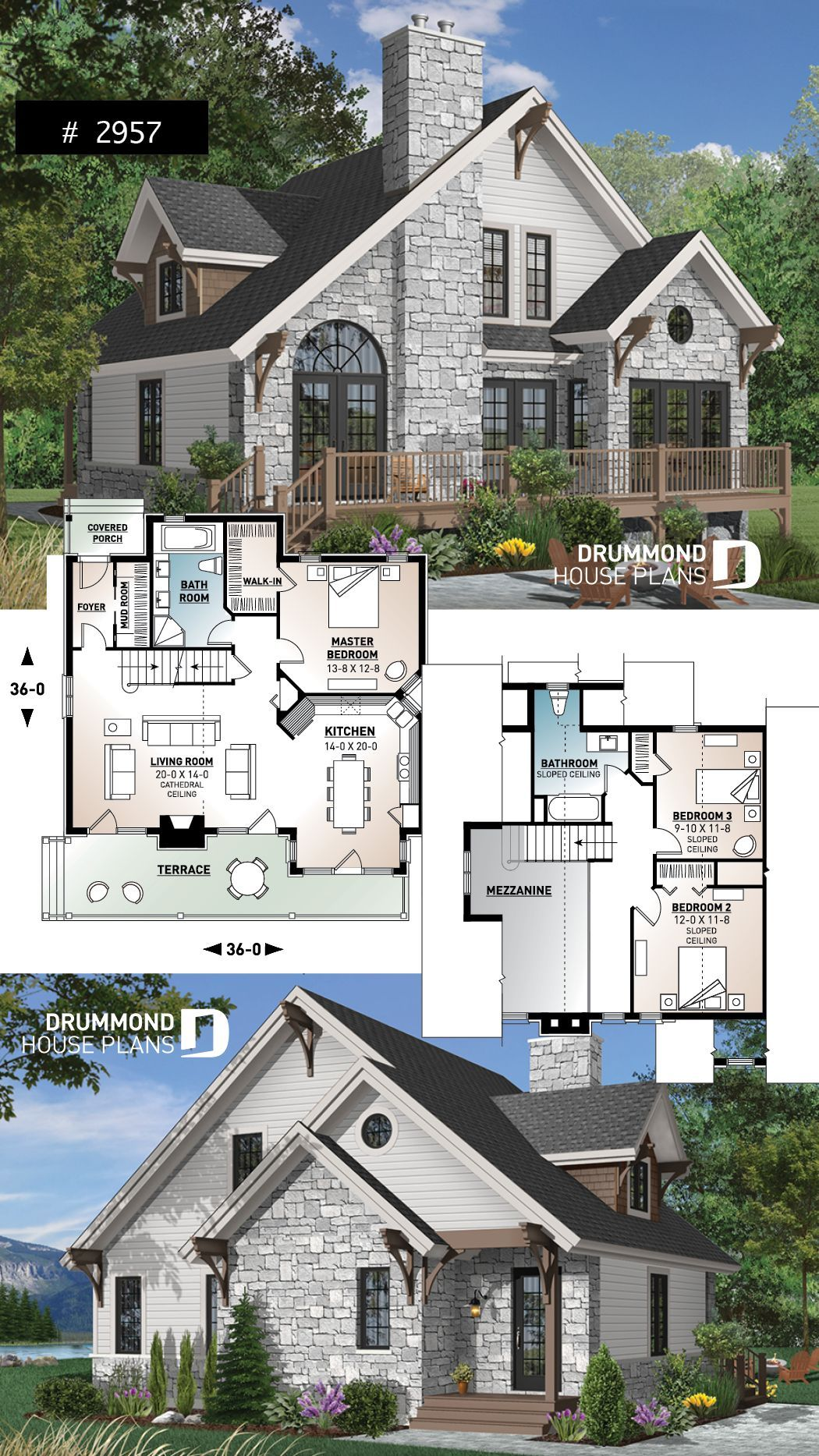 Northwest Style Cottage House Plan 3 Beds Large Terrace Mezzanine Fireplace And Open Floor Plan Concept Cozy Chal House Blueprints Home Fashion Ev Plani