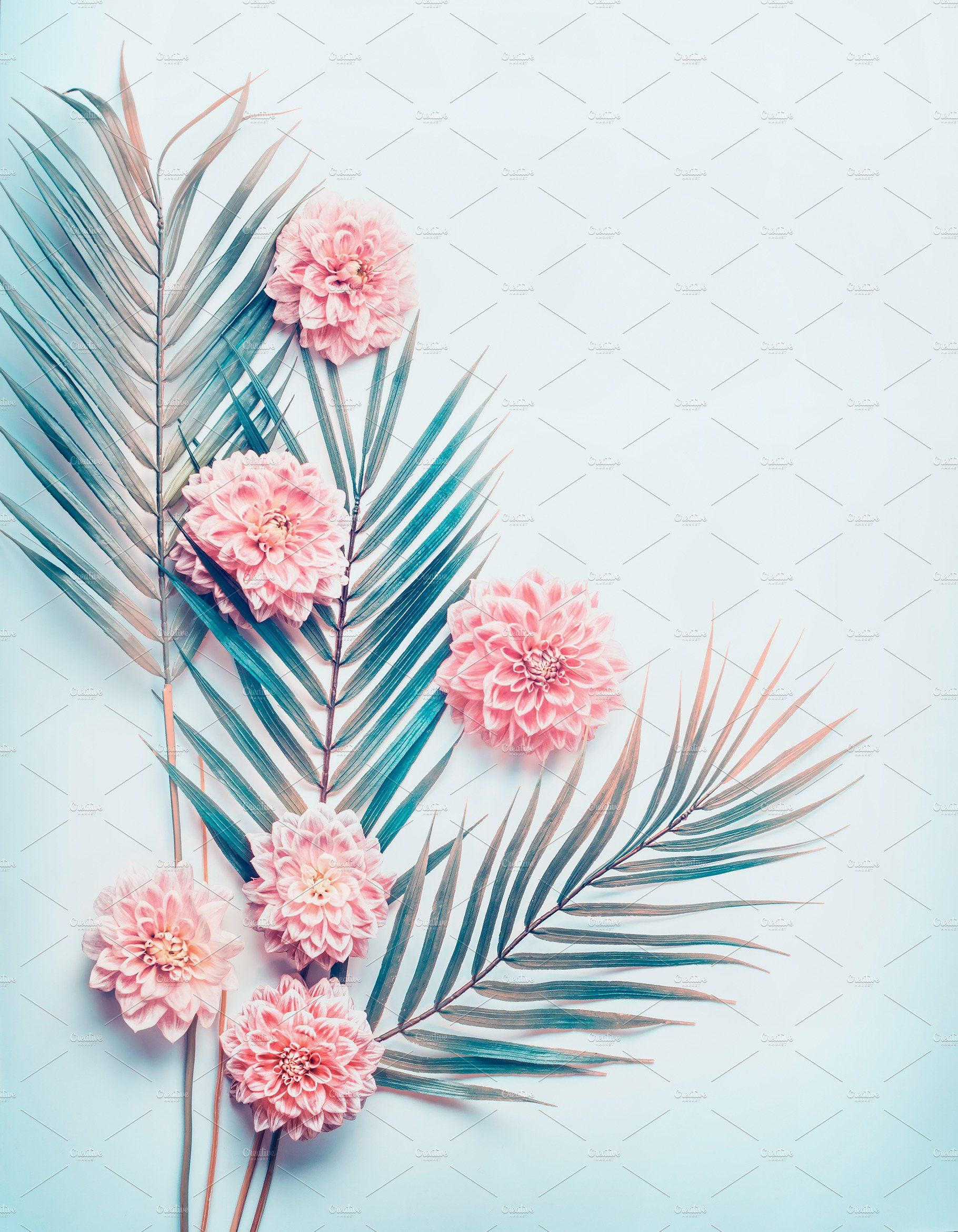 Layout With Palm Leaves And Flowers Pink Wallpaper Iphone Blue Aesthetic Pastel Leaves Wallpaper Iphone