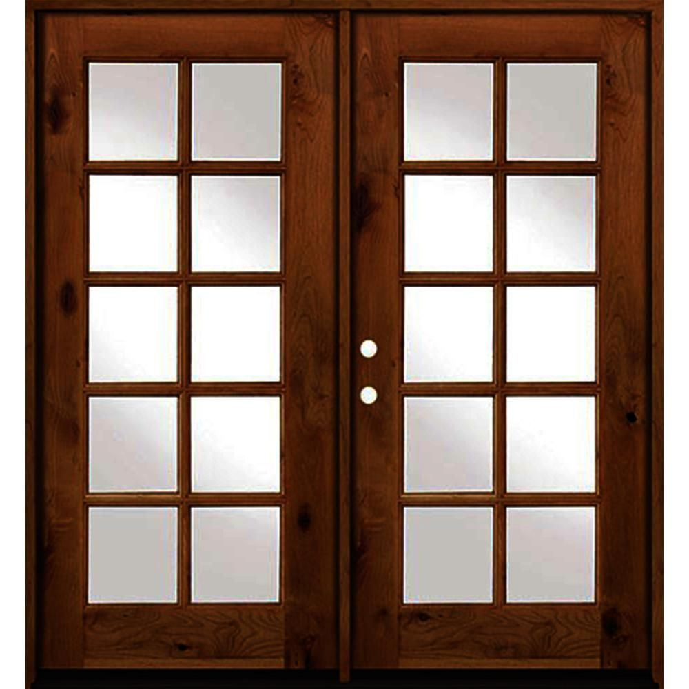 Krosswood Doors 64 In X 80 In French Knotty Alder Wood 10 Lite Clear Glass Red Chestnut Stain Left Active Double Prehung Front Door Clear Glass Red Mahogany Stain Knotty Alder