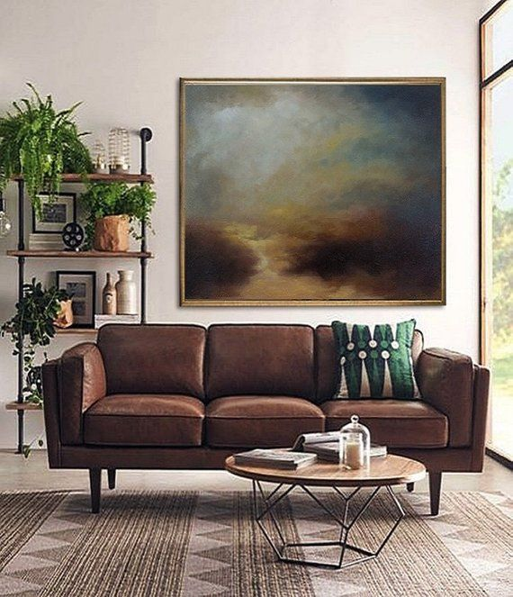 Photo of Large Sky Abstract Painting,Original Natural Landscape Painting,Wall Art Impressionist Painting,Clou