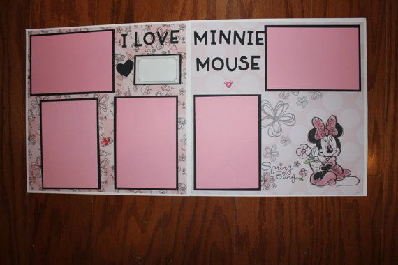 12 X 12 Minnie Mouse Scrapbook Layout Premade Double Page