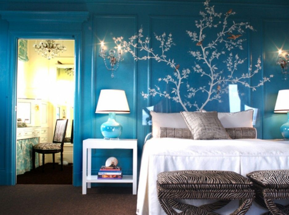 Bedroom Painting Ideas For Teenagers Blue Stain Wall With Tree Pattern Mural Features Brown Fabric Carpet Floor And Varnished Wood Tile