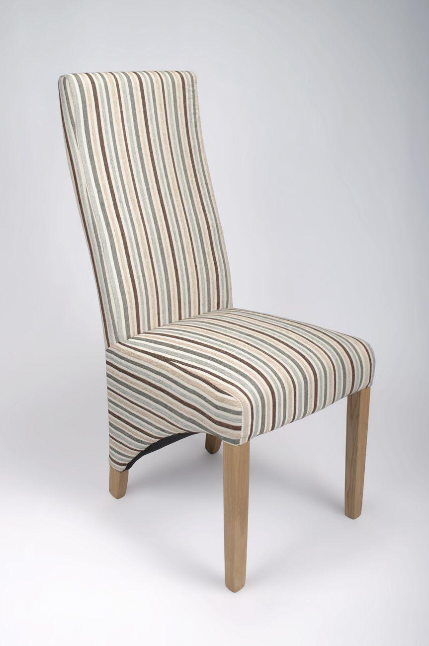 Becky Oak Dining Chair Stripped Fabric Duck Egg Blue Owen Pine 120