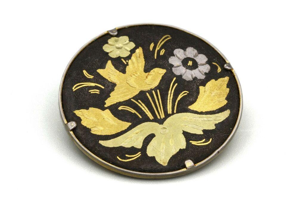 Vintage brooch damascene watermark flowers Toledo Spain retro gift jewelry for it Pittsbroc