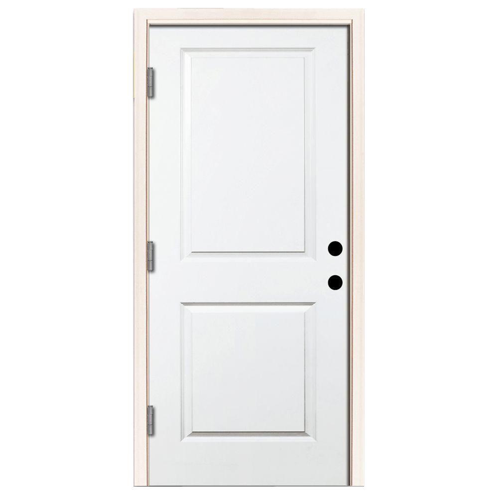 Steves Sons 36 In X 80 In Premium 2 Panel Square Primed White Steel Prehung Front Door W 36 In Right Hand Outswing 6 In Wall White Primed Exterior Doors With