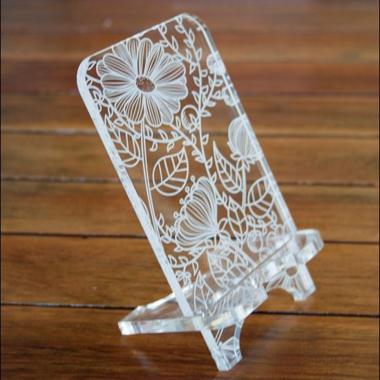 Cell phone stand laser cut template pattern design mothers day gift free vector designs for Free laser cutter templates