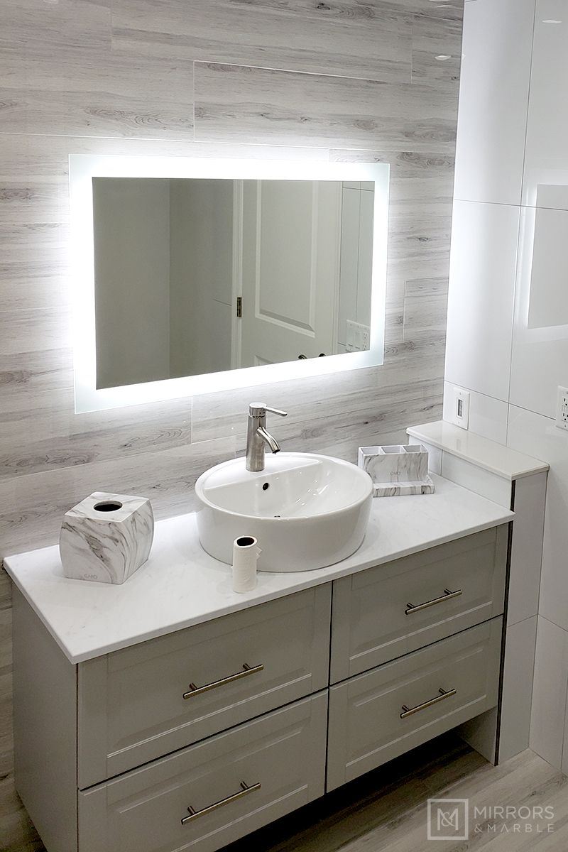 Photo of Side-Lighted LED Bathroom Vanity Mirror: 36″ x 24″ – Rectangular – Wall-Mounted