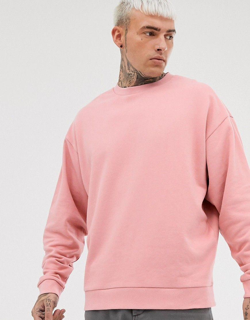 Asos Design Oversized Sweatshirt In Pink Pink Asosdesign Cloth Sweater Outfits Men Mens Sweatshirts Hoodie Sweatshirts [ 1110 x 870 Pixel ]