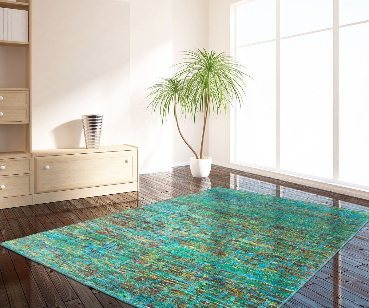 Teppich Saturia 200x290 cm Grün handgeknüpft Seide