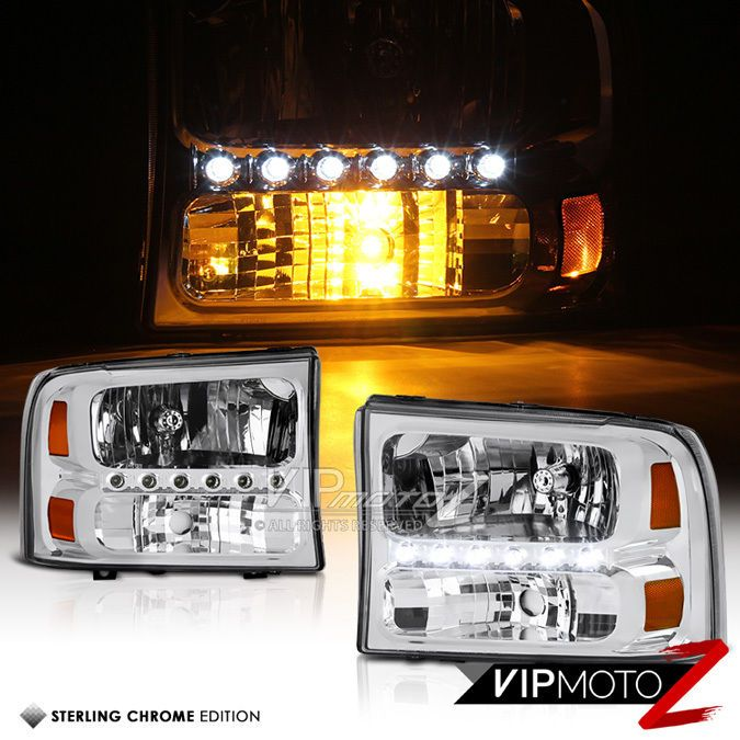 Details About 99 04 Ford F250 F350 F450 1pc Bumper Headlamp Led Bar Signal Headlights Assembly Headlight Assembly Ford F250 F250