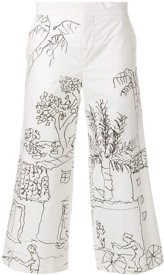 Manchester Sale Online Marni illustrated cropped trousers Outlet 2018 New J0V7i