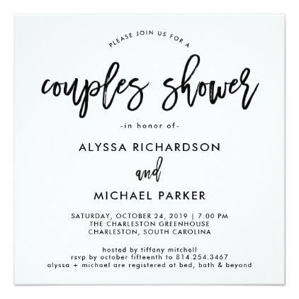 wedding modern script couples shower invitation