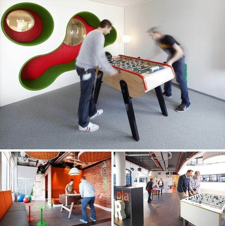 espace de travail collaboratif et babyfoot de table et table ping