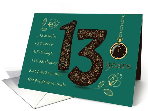 13th Golden Birthday Card Floral Number 13 Time Counting Card