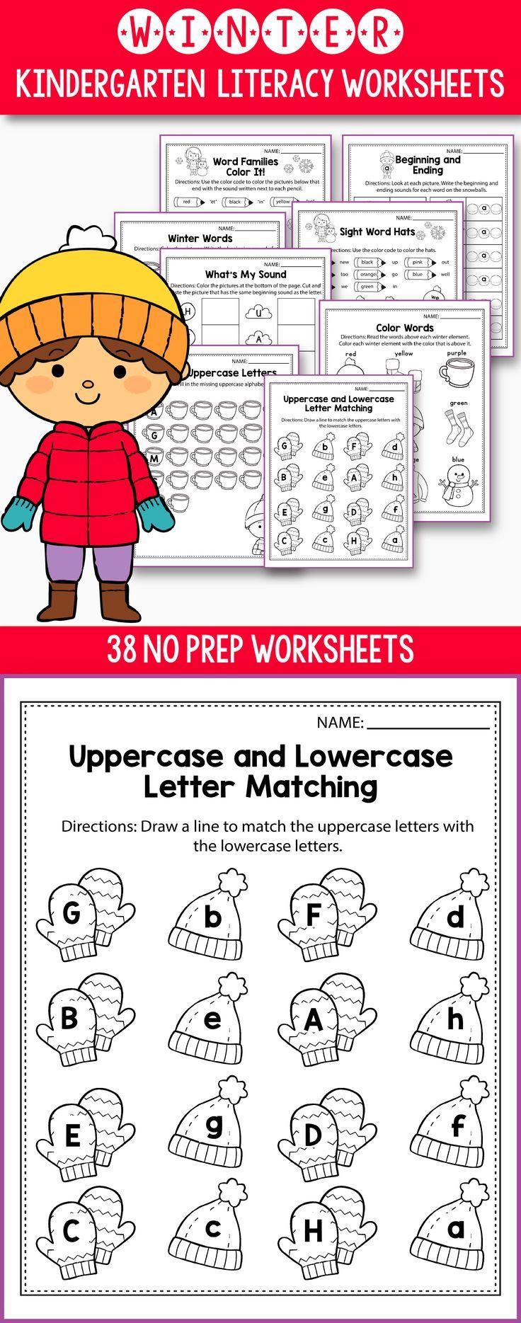 worksheet Beginning And Ending Sounds Worksheets winter activities for kindergarten literacy no prep and worksheets preschool first grade students