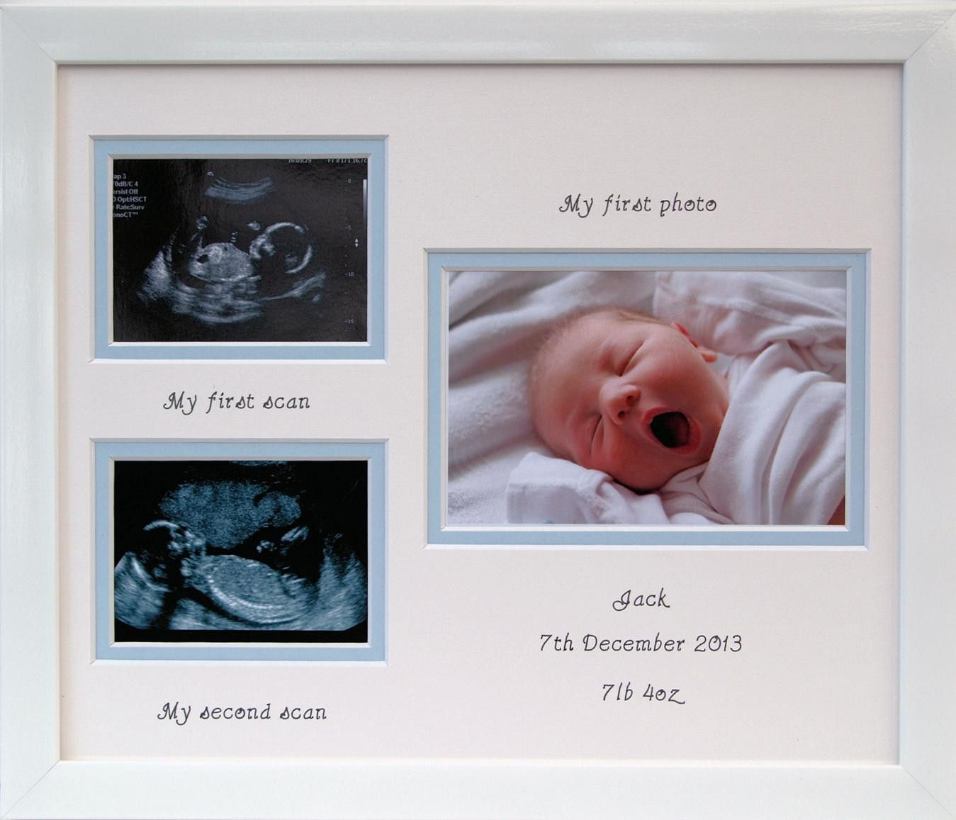 Boy first and second scan double photo frame 12 x 10 white baby baby double scan picture frame boy 12 x 10 azana photo frames jeuxipadfo Images