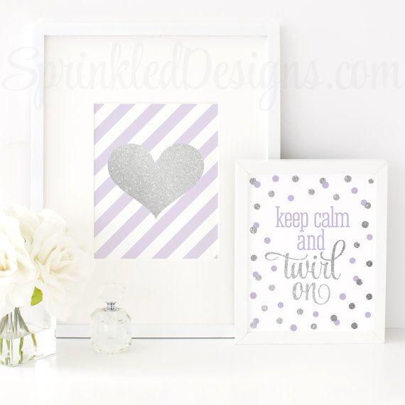 Silver Glitter Heart, Pale Lavender White Stripe Printable 8x10 Sign, Baby Girl Nursery Art, Makeup Vanity Art Print, Baby Shower Decoration - SprinkledDesigns.com