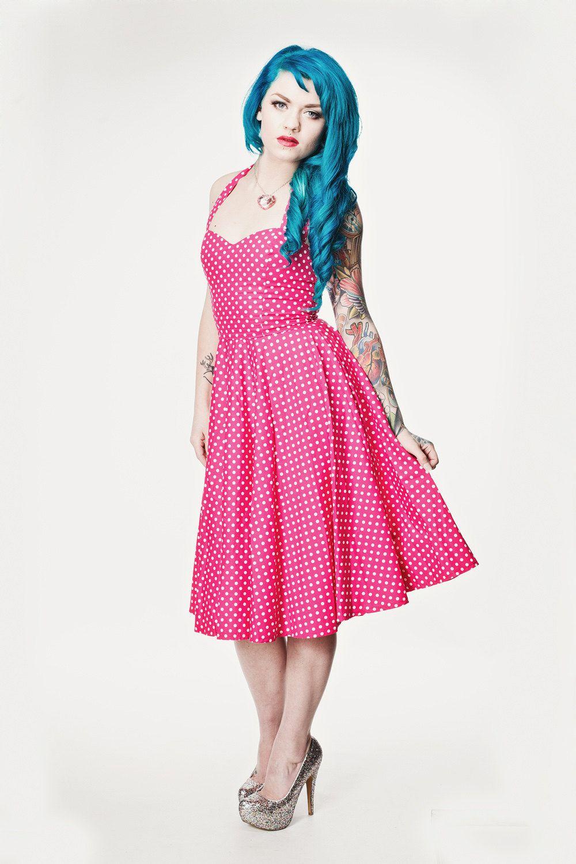 Pink polka dot Rockabilly dress- Pin up, 50\'s style