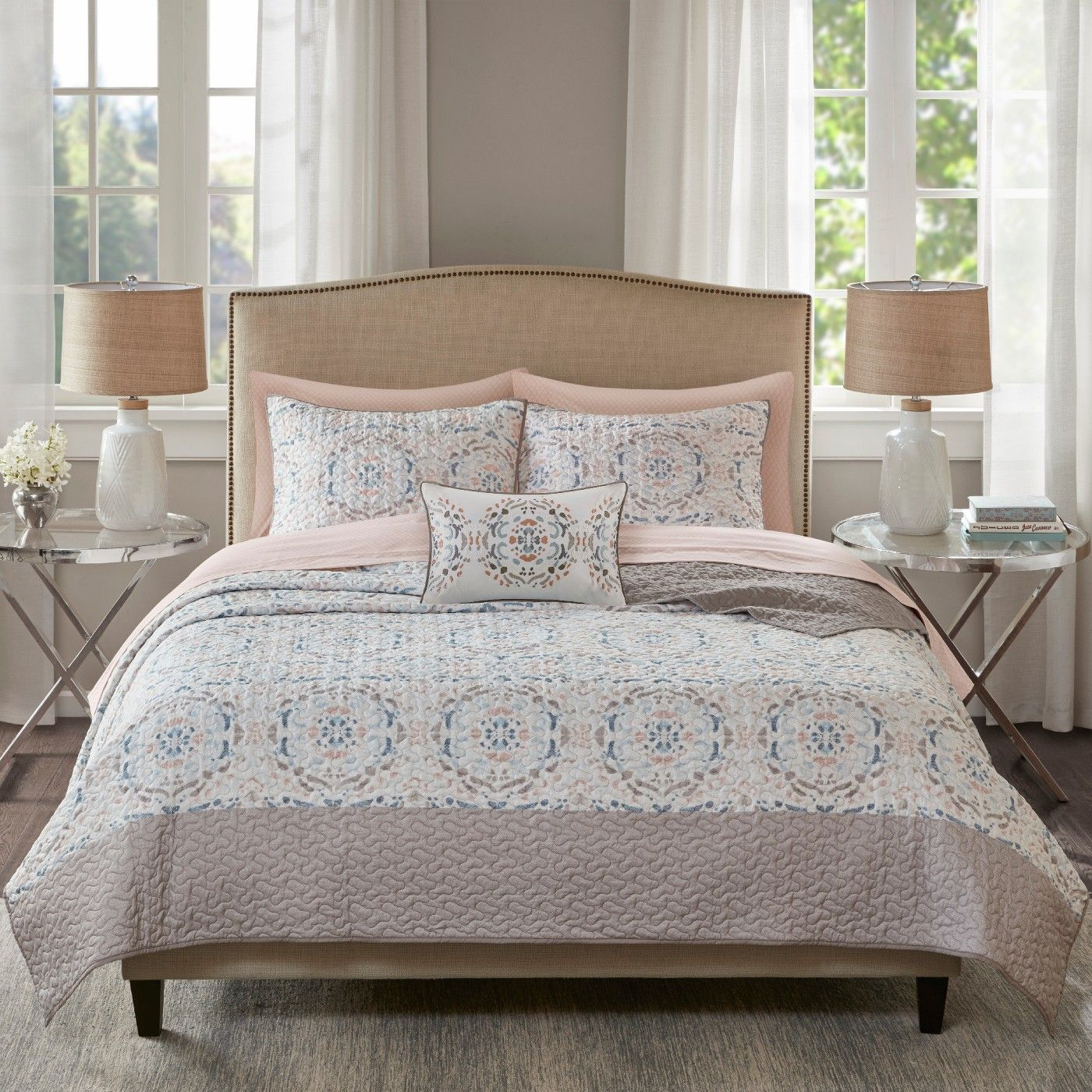 Blush Sandy Coverlet and Cotton Sheet Set image 1 of 6