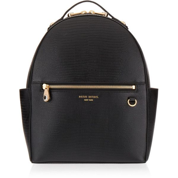 Henri Bendel West 57th Lizard Backpack (1,495 SAR) ❤ liked on Polyvore featuring bags, backpacks, black, genuine leather backpack, leather zip backpack, zip bag, leather knapsack and leather rucksack