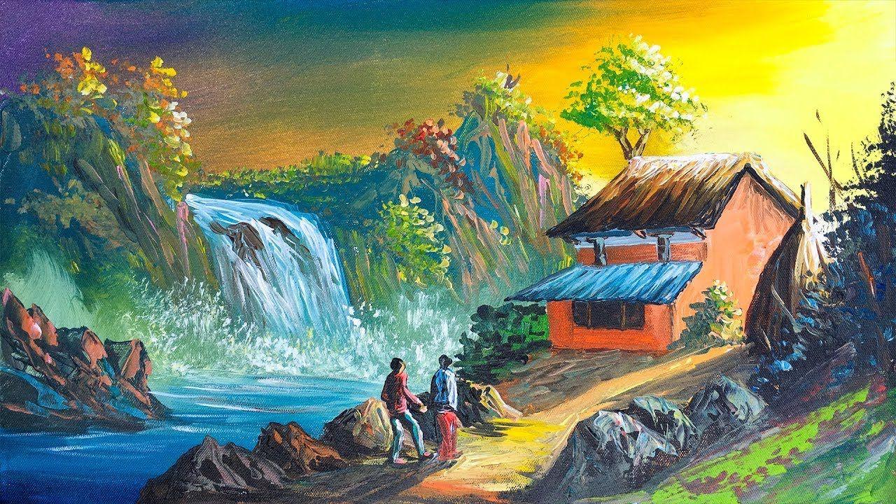 Waterfall And Beautiful Village Scenery Landscape Painting Acrylic Pai Landscape Paintings Landscape Paintings Acrylic