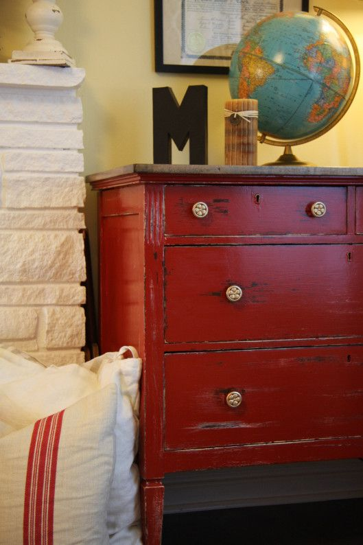 Antique Red Distressed Oak Dresser W Gold Detail By