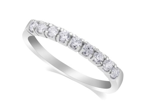 18ct White Gold Ladies Channel Set #Diamond Half #Eternity #Ring Set with 9 Round Diamonds £765