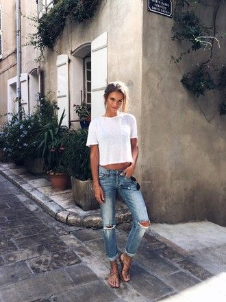 t-shirt tumblr white t-shirt denim jeans blue jeans ripped jeans cuffed  jeans sandals flat sandals nude sandals b9890acdb7