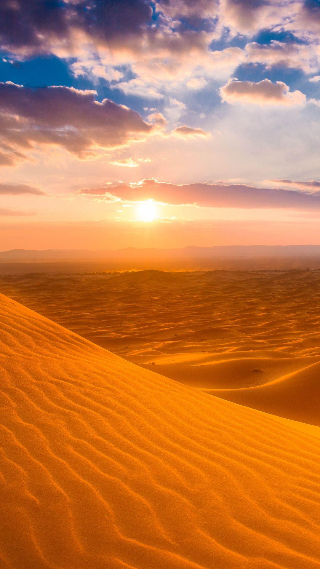 Erg Chebbi Sahara Earth Desert Desert Dune Earth Morocco Sahara Sand Sky Sunset 1080x1920 Mobile Wallpaper Desertos Deserto Lindas Paisagens Hd wallpaper sunset desert dunes sand