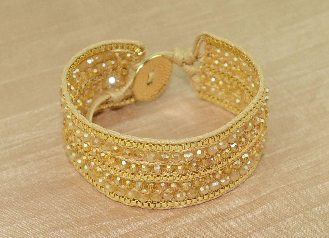 Cuff bracelet w crystal and chain - Cream - ETA Apr 18