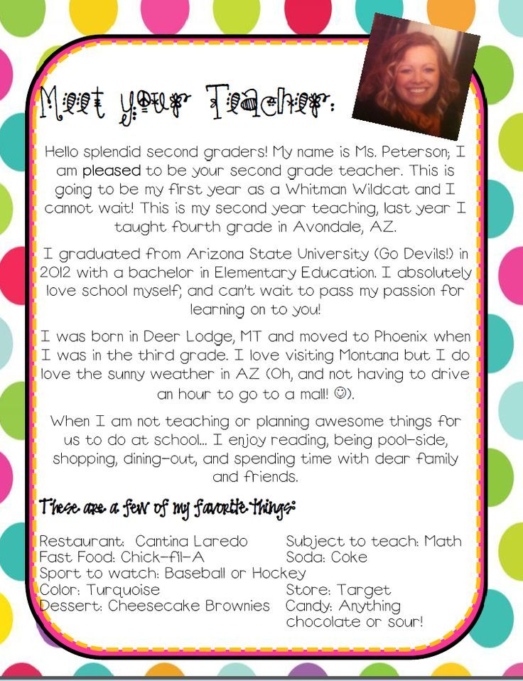 Introduction letter Back to School Letter to teacher