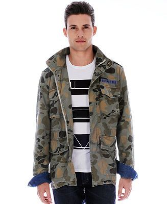 9296409ef Buffalo David Bitton Jirmy Snap-Button Camo Military Jacket - Coats ...