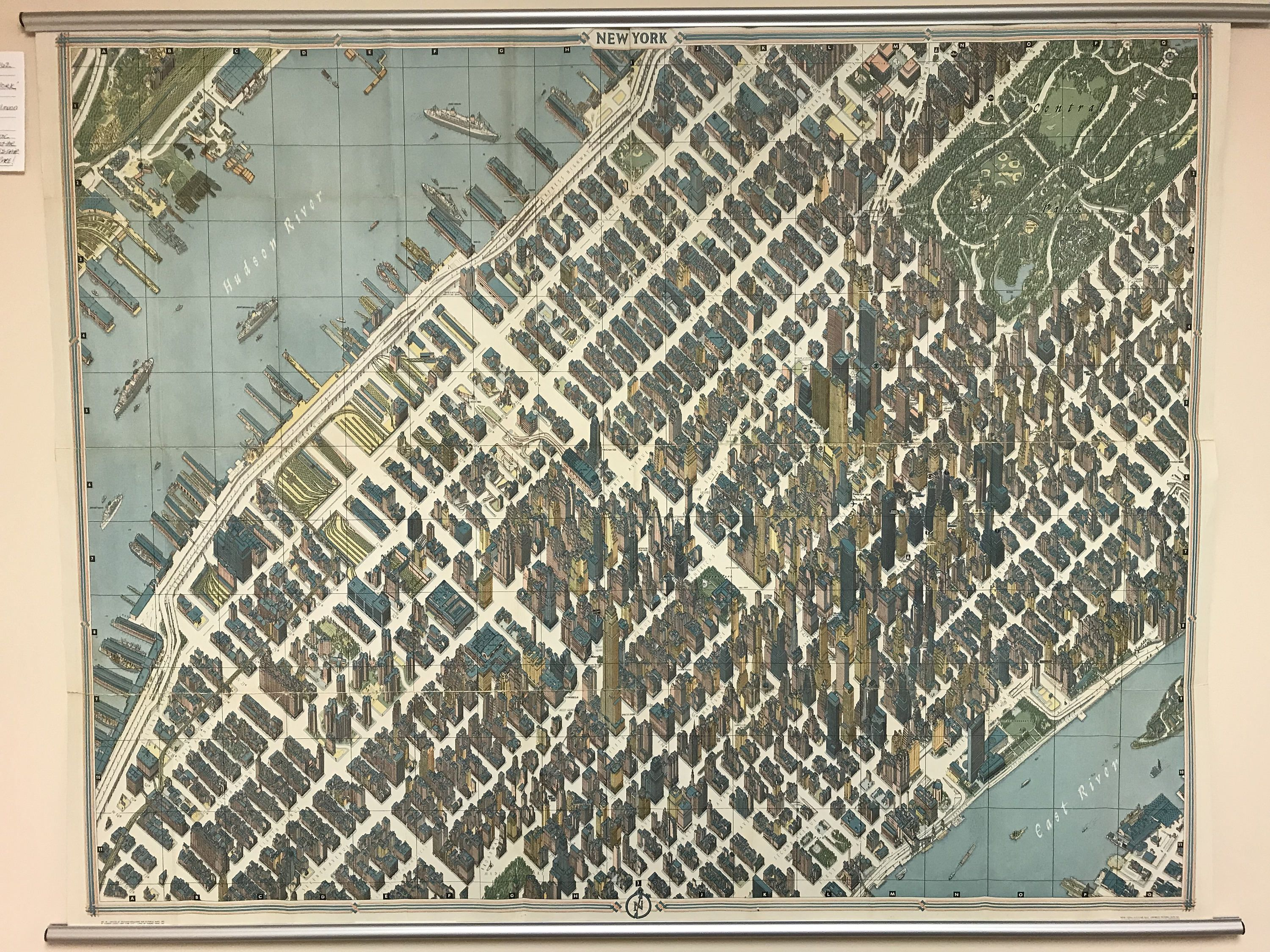Map Of New York For Sale.1963 Herman Bollmann View And Map Of New York City