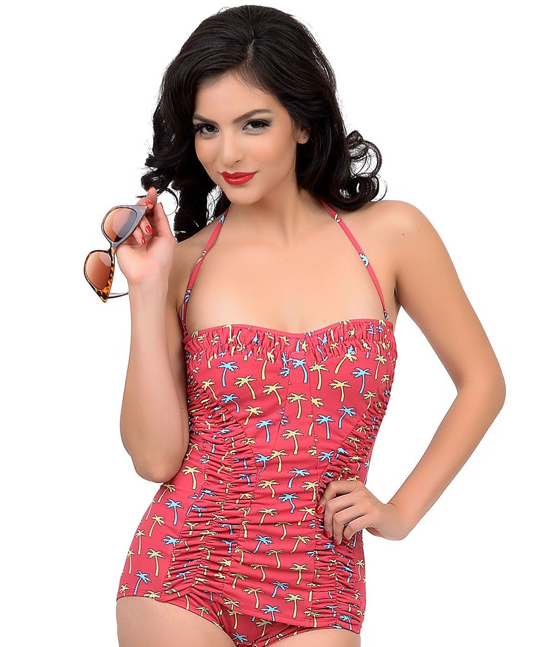 Pin-up in a subtle vintage inspired one piece sheath swimsuit from Esther Williams