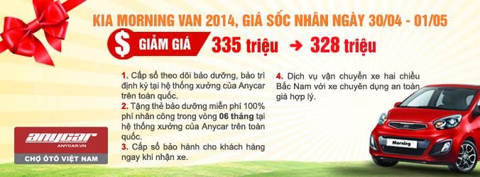 Kia morning van 2014 giảm giá nhân dịp 30/4 và 1/5 tại