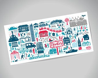 Illustrated Poster Nantes Panoramic 100x35 Cm Affiches Illustrees Carte Postale Affiche