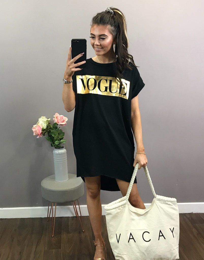 7744bf17632 Foil Print Vogue T-Shirt Dress