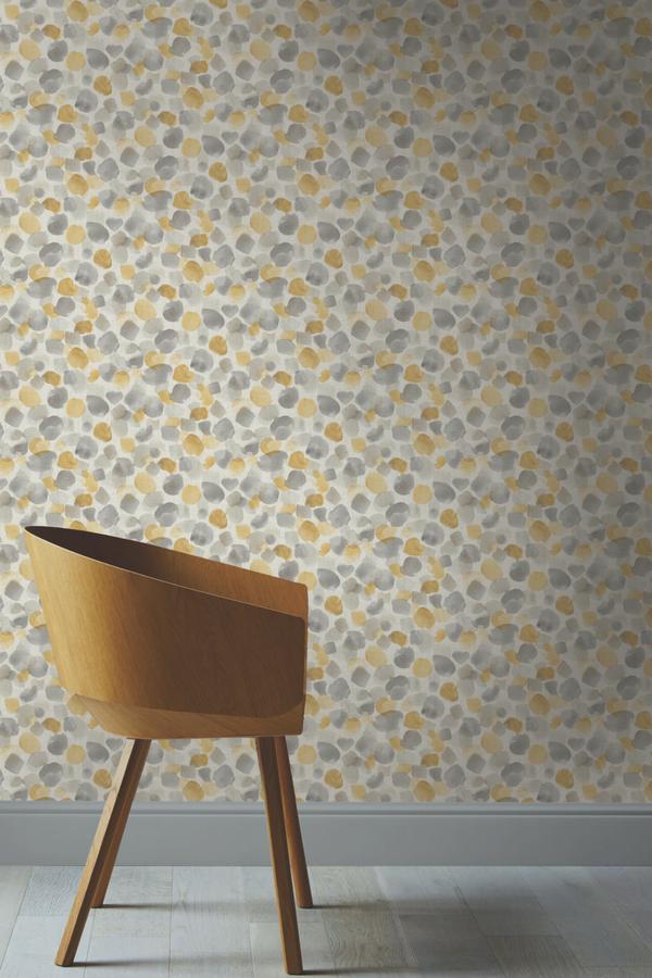 Arthouse Painted Dot Mustard Yellow Wallpaper 676200 Watercolour Brush Dots