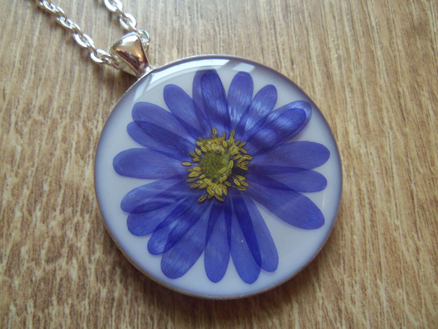 Real Flower Necklace Flower Pendant Dried Pressed Flower Anemone Necklace Resin Jewellery Purple Blue Flower Free Resin Jewelry Flower Jewellery Flower Pendant