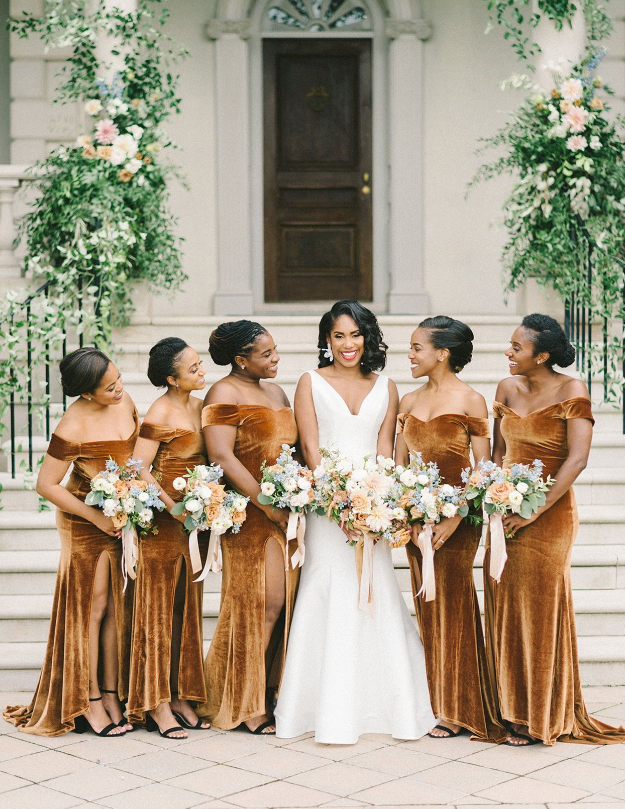 This Backyard Wedding Was Full Of Golds And Blues Perfect For A Fall Or Winter Wedding With Velvet B Bridesmaid Velvet Bridesmaid Dresses Velvet Wedding Dress [ 1610 x 1244 Pixel ]